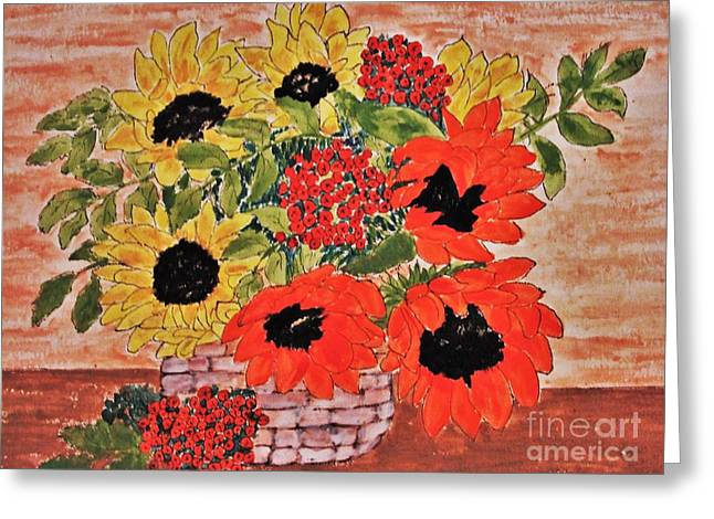 Bloosom Greeting Cards - Sunflowers In The Basket Greeting Card by Jasna Gopic