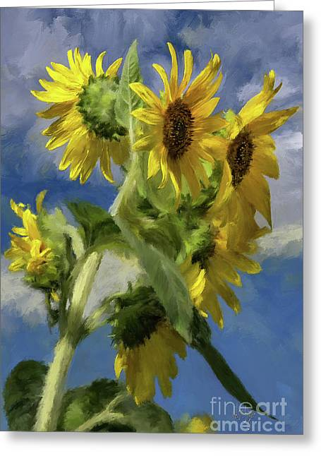 Sunflowers In The Sun Greeting Card by Lois Bryan