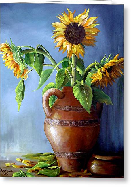 Cuban Artist Greeting Cards - Sunflowers in Vase Greeting Card by Dominica Alcantara