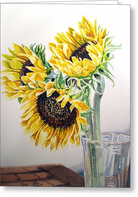 Valentine Gift Ideas Greeting Cards - Sunflowers Greeting Card by Irina Sztukowski