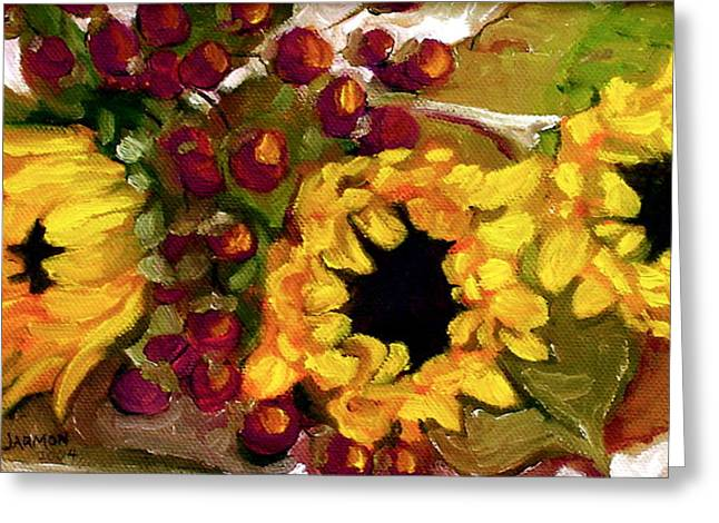 Recently Sold -  - Berry Greeting Cards - Sunflowers Greeting Card by Jeanette Jarmon