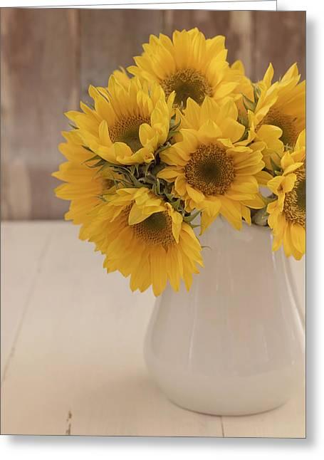 Yellow Sunflower Greeting Cards - Sunflowers Greeting Card by Kim Hojnacki