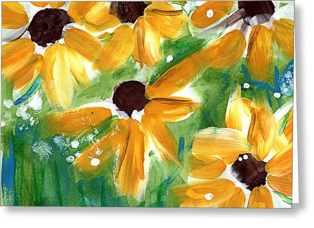 Yellow Sunflower Greeting Cards - Sunflowers Greeting Card by Linda Woods