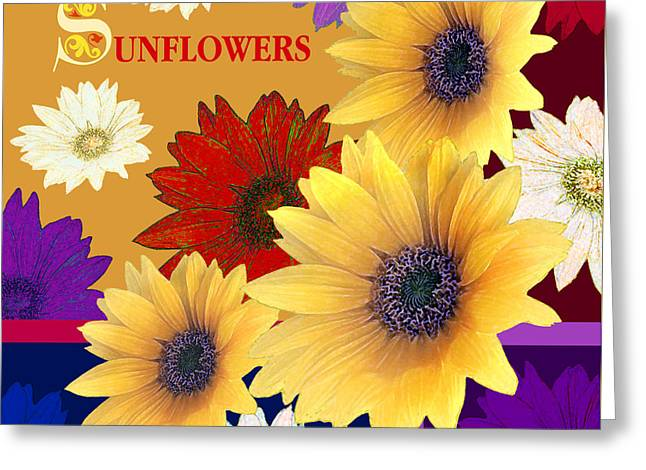 Digital Media Jewelry Greeting Cards - Sunflowers - Napkin Design Greeting Card by Skarlett Pancheva
