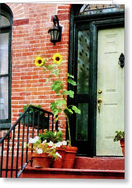 Stoop Greeting Cards - Sunflowers on Stoop Greeting Card by Susan Savad