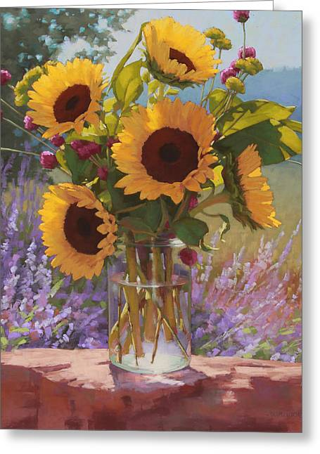 Sunflowers Pastels Greeting Cards - Sunflowers on the Rock Wall Greeting Card by Sarah Blumenschein