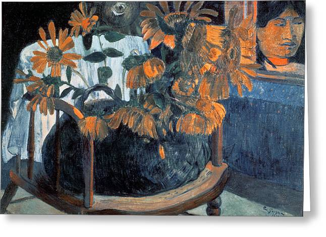 Mysticism Greeting Cards - Sunflowers Greeting Card by Paul Gauguin