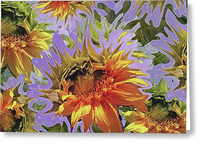 Sunflowers Rising 25 Greeting Card by Lynda Lehmann