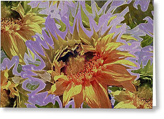 Sunflowers Rising 34 Greeting Card by Lynda Lehmann