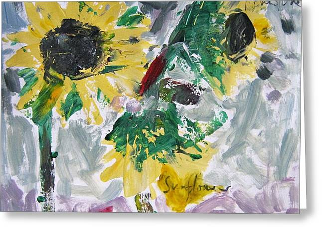 Abstract Expression Greeting Cards - Sunflowers Greeting Card by Toni Johnstone