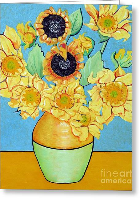 Recently Sold -  - Van Gogh Style Greeting Cards - Sunflowers Tribute to Vincent van Gogh II Greeting Card by Christine Belt