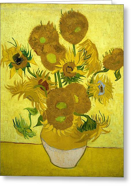 Museum Paintings Greeting Cards - Sunflowers Greeting Card by Van Gogh