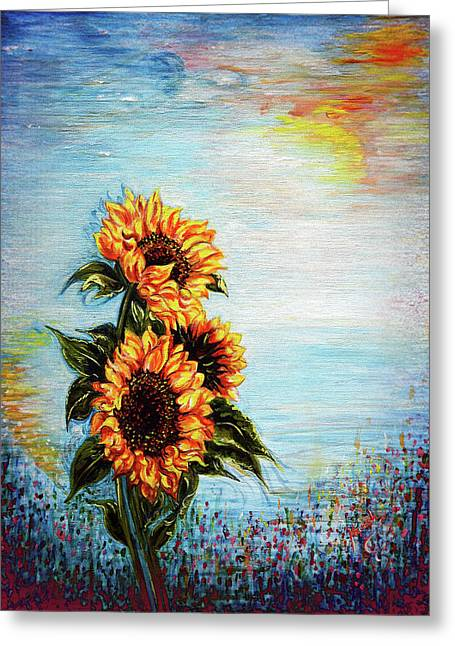 Universal Mother Greeting Cards - Sunflowers - Where Ocean meets the Sky Greeting Card by Harsh Malik