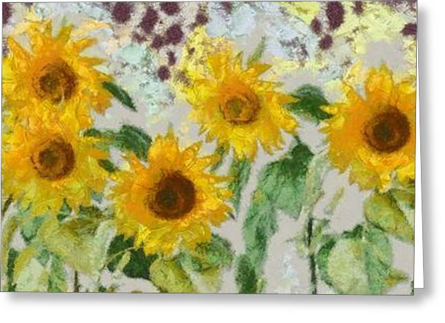 White Digital Greeting Cards - Sunflowers Wide Greeting Card by Edward Fielding