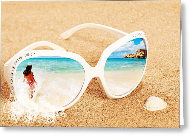 Bikini Greeting Cards - Sunglasses In The Sand Greeting Card by Amanda And Christopher Elwell