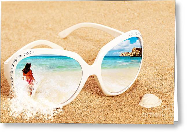 Concept Photographs Greeting Cards - Sunglasses In The Sand Greeting Card by Amanda And Christopher Elwell