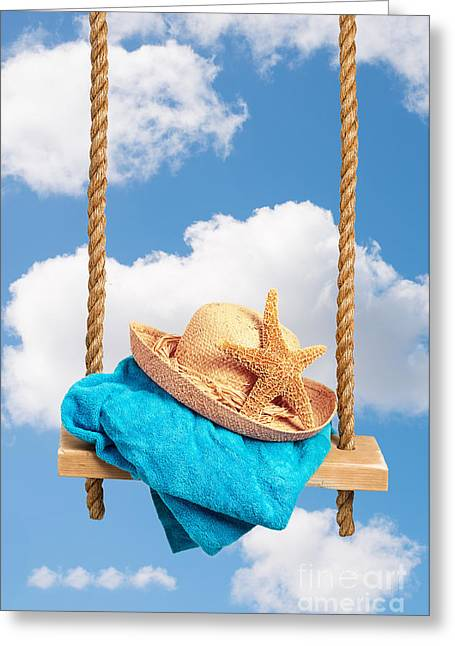 Sunhat On Swing Greeting Card by Amanda And Christopher Elwell