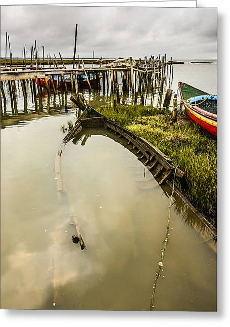 Fragile Dwelling Greeting Cards - Sunken Fishing Boat Greeting Card by Marco Oliveira