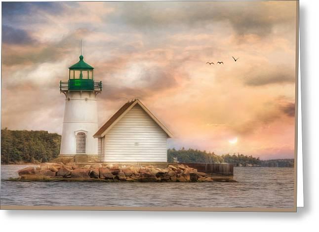 Sunken Rock At Sunrise Greeting Card by Lori Deiter
