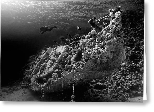Wrecks Greeting Cards - Sunken Yacht Of Abu Galawa Greeting Card by Henry Jager