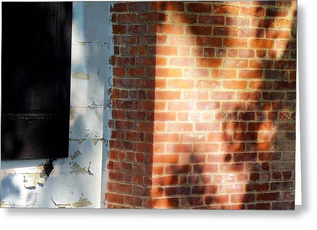 Shadowplay Greeting Cards - Sunlight and Shadow on an Old Brick Wall Greeting Card by Cheryl Kurman
