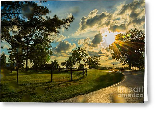 Highway Tapestries - Textiles Greeting Cards - Sunlight around the Corner Greeting Card by James Hennis