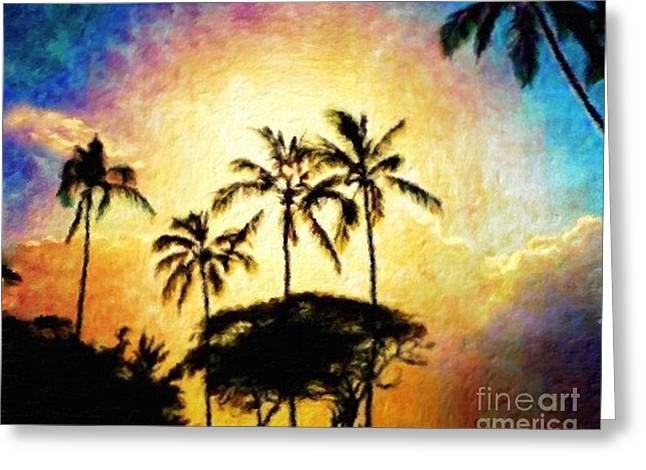 Sunlight In The Palm Trees Greeting Card by Jerome Stumphauzer