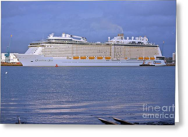 Docked Boat Greeting Cards - Sunlight light on the Quantum of the Seas Greeting Card by Terri  Waters
