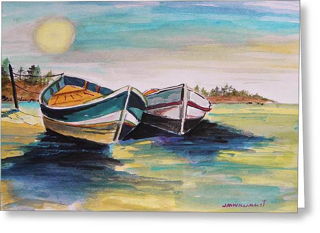 Boats On Water Drawings Greeting Cards - Sunlight on Flat Water Greeting Card by John  Williams