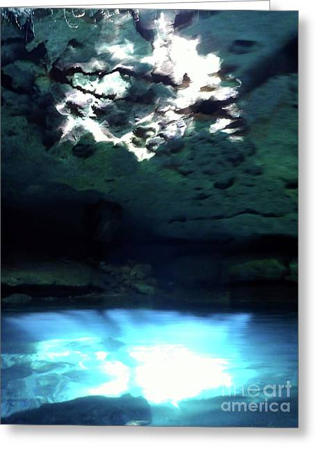 Sunlight Reflections In The Cenote Greeting Card by D Hackett