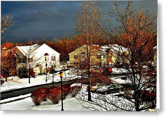 Winter Storm Greeting Cards - Sunlit House and the Eerie Storm Clouds Greeting Card by Srinivasan Venkatarajan