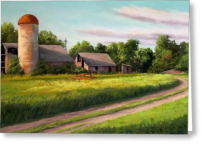 Old Barn Pastels Greeting Cards - Sunlit Barn Greeting Card by Candice Ferguson