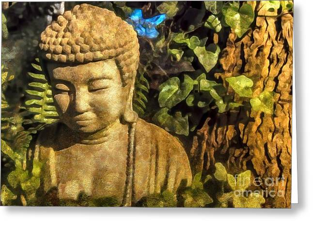 Garden Statuary Greeting Cards - Sunlit Buddha 2015 Greeting Card by Kathryn Strick