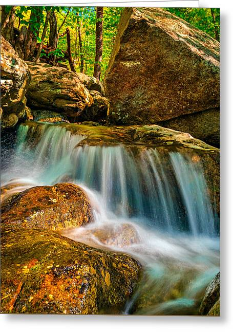 Effervescence Greeting Cards - Sunlit Cascade Greeting Card by Steven Maxx