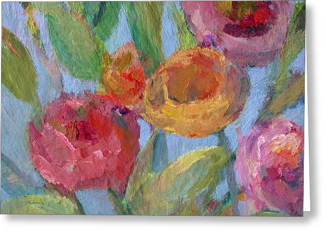 Sunlit Flower Garden Greeting Card by Mary Wolf
