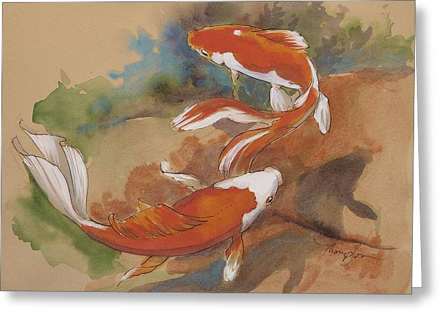 Sunlit Goldfish Greeting Card by Tracie Thompson