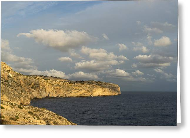 Sunlit Limestone Cliffs In Malta Greeting Card by Georgia Mizuleva