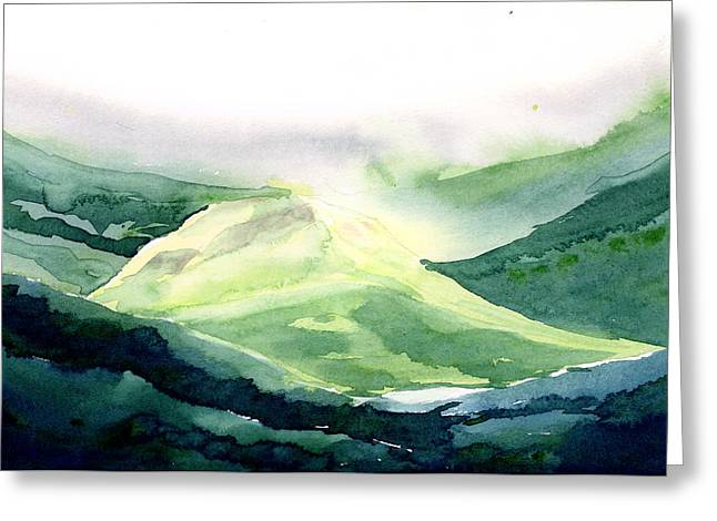 Anil Nene Greeting Cards - Sunlit Mountain Greeting Card by Anil Nene