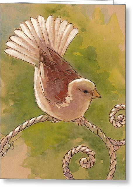Brown Birds Greeting Cards - Sunlit Sparrow Greeting Card by Tracie Thompson