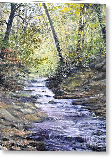 Fall Trees With Stream. Greeting Cards - Sunlit Stream Greeting Card by Penny Neimiller