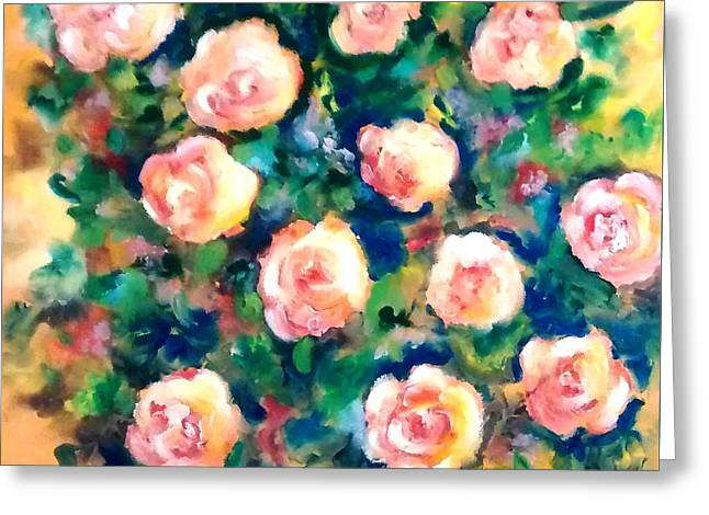 Sunlit Summer Roses Greeting Card by Patricia Taylor