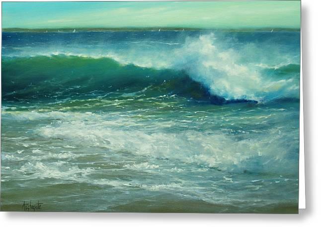 Maine Beach Greeting Cards - Sunlit Surf Greeting Card by Barbara Applegate