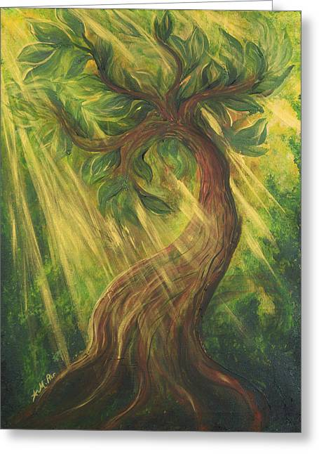 Sun Rays Paintings Greeting Cards - Sunlit Tree Greeting Card by Michelle Pier