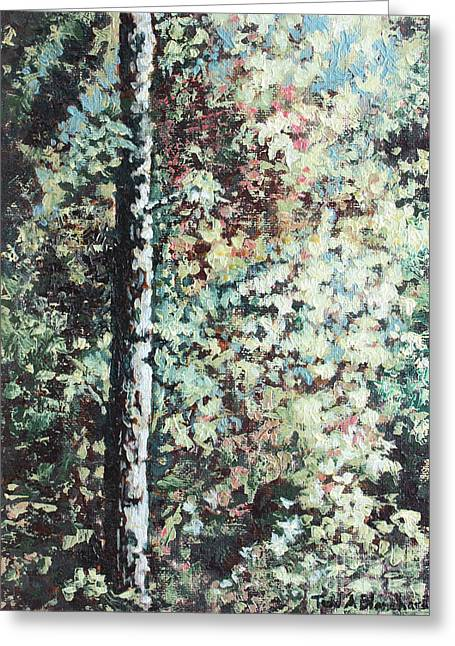 Tn Paintings Greeting Cards - Sunlit Tree Greeting Card by Todd A Blanchard