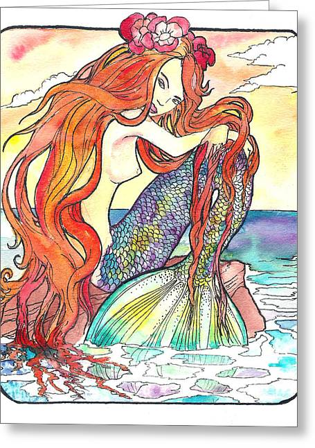 Jenn Cunningham Greeting Cards - Sunning Mermaid Greeting Card by Jenn Cunningham