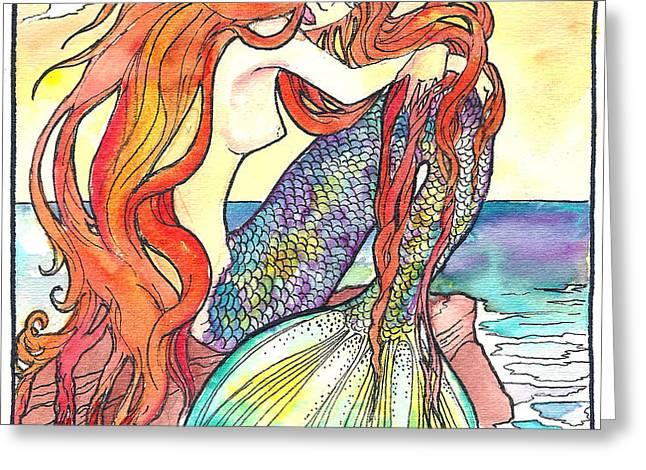 sunning mermaid Greeting Card by Jenn Cunningham