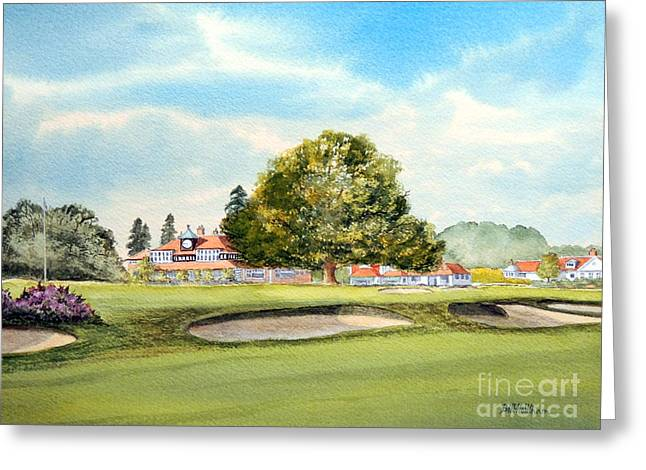 Wedding Reception Greeting Cards - Sunningdale Golf Course 18th Green Greeting Card by Bill Holkham
