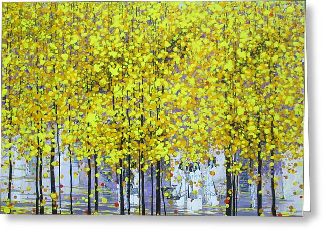 Schoolgirl Paintings Greeting Cards - Sunny Autumn Greeting Card by Nguyen Xuan Khanh