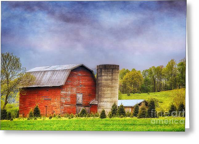 Wooden Building Greeting Cards - Sunny Barn With Stormy Skies Greeting Card by Priscilla Burgers