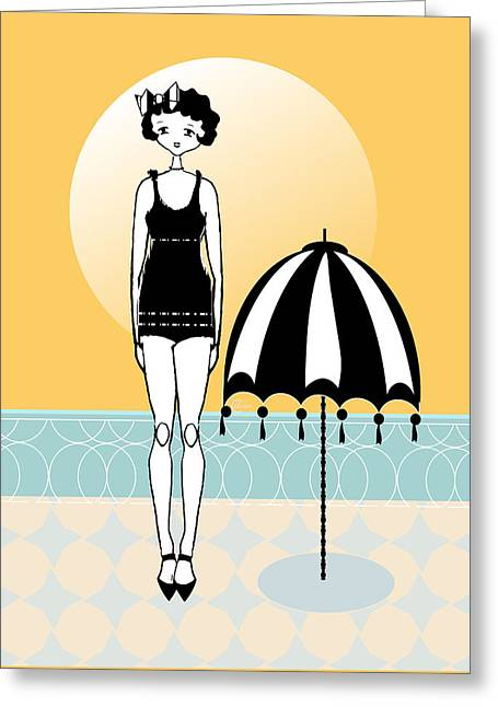 Party Invite Greeting Cards - Sunny Beach Umbrella with Gatsby Flapper Girl  Greeting Card by Cecely Bloom